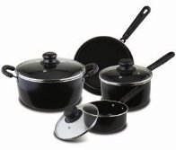 Living Plus Carbon Steel 7pc. Cookware Set, Black 